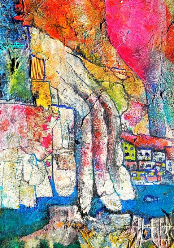 Seeside Village,  Collage Painting by Gord