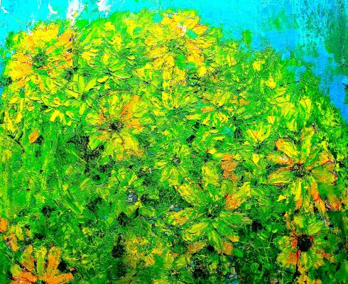 Yellow Flowers Oil Painting by Gord